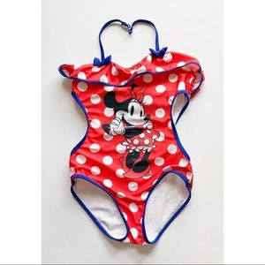 Girls- Ted and while Minnie one piece bathing suit